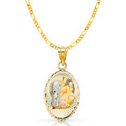 14k 3 Tone Gold Dc Communion Stamp Charm Pendant And 2mm Figaro 3+1 Chain Necklace