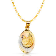 14k Tri Tone Gold Dc Baptism Stamp Charm Pendant And 2mm Figaro 3+1 Chain Necklace