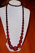 Vintage Art Deco Cherry Red Baltic Amber Faceted Bead Huge 96 Gr Necklace 40''