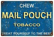 Vintage Chew Mail Pouch Tobacco Blue Background Sign