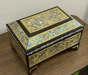Egyptian Handmade Wood Jewelry Box, Hollow Copper Inlaid Mother Of Pearl And Ebony