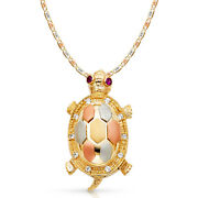 14k Tri Color Gold Cz Turtle Charm Pendant And 3.3mm Valentino Star Chain Necklace