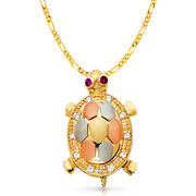 14k Tri Color Gold Cz Turtle Charm Pendant And 3.1mm Figaro 3+1 Chain Necklace