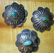 Vtg Navajo Turquoise Concho Buttons 17g Silver Hand Stamped Southwest Old Pawn