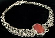 Antique Chinese Export Sterling Silver Poison Necklace Carnelian Pendant Choker