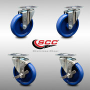 Ss Solid Poly Swivel Caster Set Of 4 W/5 Wheels - 2 W/brakes