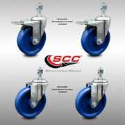 Ss Solid Poly Swivel Ts Caster Set Of 4 W/5 Wheels And 1/2 Stems - 2 W/ttl Brk