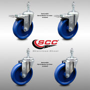 Ss Solid Poly Swivel Ts Caster Set Of 4 W/5 Wheels And 3/8 Stems - 2 W/ttl Brk