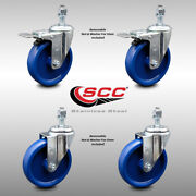 Ss Solid Poly Swivel Ts Caster Set Of 4 W/5wheels And 12mm Stems - 2 W/ttl Brk