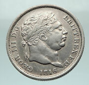 1816 Great Britain United Kingdom Uk King George Iii Silver Shilling Coin I80364