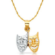 14k 2 Tone Gold Happy And Sad Face Charm Pendant And 0.9mm Singapore Chain Necklace