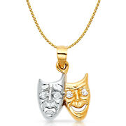 14k 2 Tone Gold Happy And Sad Charm Pendant And1.2mm Flat Open Wheat Chain Necklace