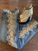 Vintage Dolceandgabbana Rare Jeans Made In Italy Golden Plate And Lace
