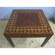 Maitland-smith Basket Weave Inlaid Game Small Dining Or Center Hall Table