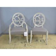 6 Drexel Heritage Giasana Synergy White Rustic Cottage Side Arm Dining Chairs