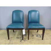 2 Henredon Scene Six Upholstered Teal Leather Side Accent Dining Chairs