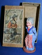 Antique 1900and039s German Composition Caganer Witch In American Patriotic Colors