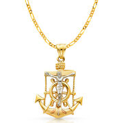 14k 3 Tone Gold Crucifix Anchor Charm Pendant And 3.8mm Figaro 3+1 Chain Necklace