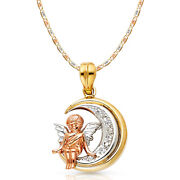 14k Tri Color Gold Cz Angel Charm Pendant And 3.3mm Valentino Star Chain Necklace