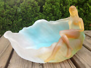 Art Colored Glass Pate-de-verre Nude Lady Ashtray Lost-wax Crystal Sculpture