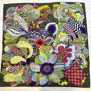 Hermes Scarf Stole Fleurs Dand039indiennes By Aline Honore Floral Silk Khaki Carre 90