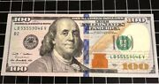 100 Dollar Bill Quad 5s Uncirculated Condition Fancy Serial Number 5555