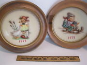 Hummel Annual Plates 267 Goose Girl 1974 And 268 Ride Into Christmas 1975