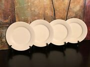 4 Crate And Barrel Solid White Dinner Plates Indonesia Cbl132 10.75