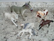 Lot Of 5 Plastic Horses, Donkey Mule And Pegasus Schleich Terra