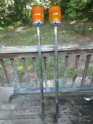 2 Battery Operated Warning Beacon Lights Pole Mounted 56