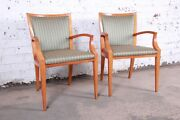 Baker Furniture Neoclassical Solid Maple Armchairs With Silk Upholstery Pair