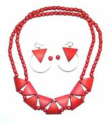 Aarikka Finland - Beautiful Necklace And Earrings In Red Color Wood