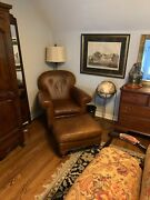 Baker/milling Road Furniture Leather Club Lounge Chair W/ottoman Exc
