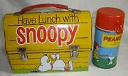 Snoopy Lunch Box W Thermos Vintage 1968 Nice Used Condition