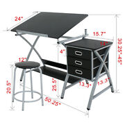 Drafting Craft Table Station Mdf Top Drawing Desk Art Work Artist Drawer W/stool
