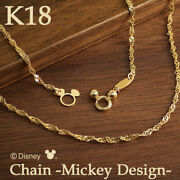 Disney Necklace Mickey Chain K18 Gold Women From Japan [a0918]