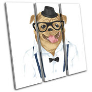 Hipster Animals Pug Dog Glasses Vintage Treble Canvas Wall Art Picture Print