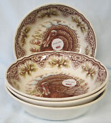 Victorian English Pottery Turkey Soup Or Cereal Bowl Set Of 4 Thanksgiving