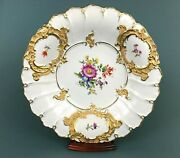 Meissen B Form Floral Cabinet Plate Charger Bowl Gold Gilt Scalloped 11 5/8