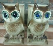 Vintage Lefton-owl Bookends-very Rare-farm-decor-country-1950's-mint