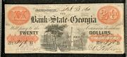 20 1860 Bank Of The State Of Georgia, Savannah Athens Branch Nice Note