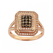 1/2ct April Birthstone White And Brown Diamond Ring In 14k Rose Gold