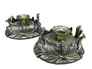 Pair 1991 Chapman Solid Brass Hurricane Candle Holder Lamps Classic Lamp Sconces