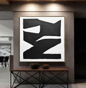 48 X 48 Black And White Original Large Abstract Art Canvas Painting L. Beiboer