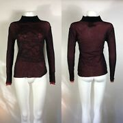 Rare Vtg Jean Paul Gaultier Classique Red And Black Mesh Top