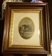 Antique Tintype Photograph ♡ Child Red Cheeks ♡ Victorian Wood Shadow Box Frame