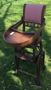 Vintage Antique Baby High Chair Collapsible Stroller Wood Wheels Walker Nice
