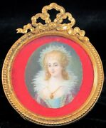 Antique Hand Painted Miniature Porcelain Painting Victorian Woman Queen Jewels