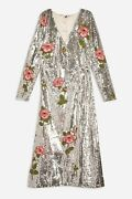 Womenand039s Topshop Glamorous Silver Sequin And Floral Beaded Wrap Dress Size 12