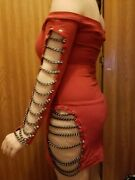 Red Mini Dress With Black Chains Clubwear Exotic Dancer Eye Candy Very Sexy Euc